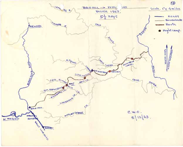 Bald Hill To Putty Road Sydney University Bushwalkers - Colo river map